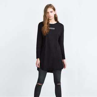 Zara Long Sleeve Longline Tee