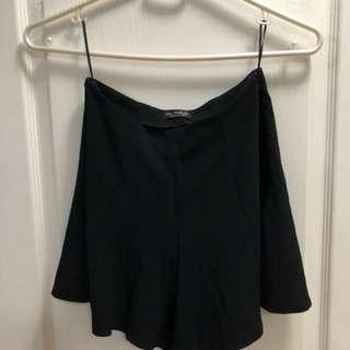 Miss Selfridge Black Flowy Shorts