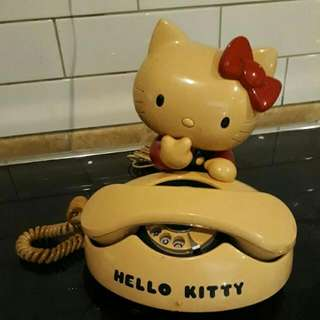 Real Vintage hello kitty winding telephone 70'era , Sanrio made in Japan..still works