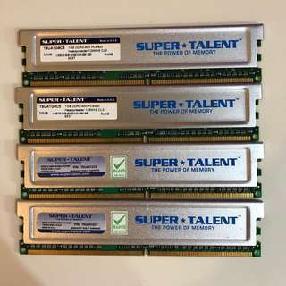 [二手] Super Talent牌子 DDR2 RAM, 1 GB x 2條 + 512MB x 2條