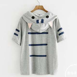 PO Cat Ear Short Sleeve Hoodie T-Shirt with Cap 2 Colours
