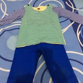 Strip tshirt and blue pants