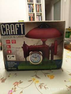 "Craft clock & lamp 8"" x 5.5"" plastic, all perfect & workable, original box with  some wears and tears"