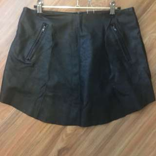 Faux leather mini skirt (size 10-12)