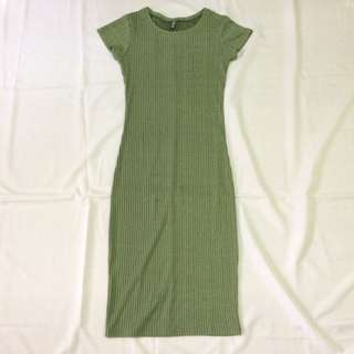 Cotton On olive green ribbed bodycon dress