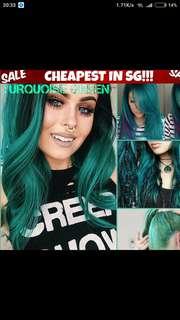 Turquoise green hair dye