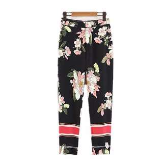 European and American style floral printing high waist loose casual trousers