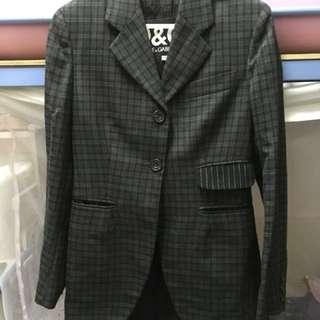 D&G格子紋黑灰色西裝長款外套
