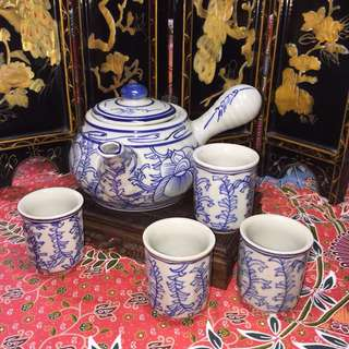 Blue And White Pea Flower Tea Set