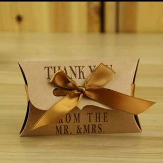 CLEARANCE - Kraft Pillow MR & MRS Favor Box