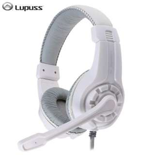 LUPUSS G1 OVER-EAR GAMING HEADSETS EARPHONES HEADPHONES WITH MIC STEREO BASS FOR PC GAMES (WHITE) -