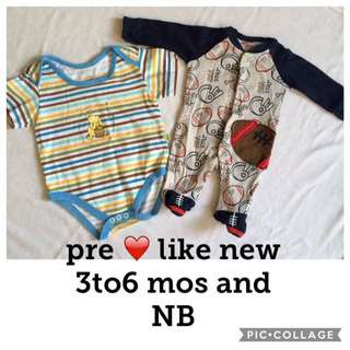 Onesies NB and 3/6mos like new