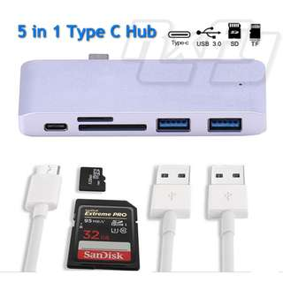 5 in 1 Type C Card Reader Hub USB C 2 x USB 3.0 Port Combo OTG Micro SD SDHC SDXC TF Card Reader Charger Charging Macbook