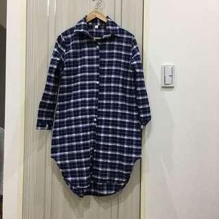 長版格子襯衫
