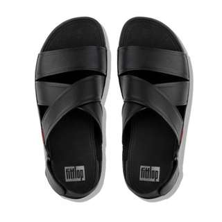 FitFlop CHI™  Men's Leather Sandals | Black | US Men's Size 11,12,12.5,13 | Sandal Flip Flop Slipper