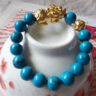 Feng Shui Gold Pixiu Bracelets Blue turquoise (12MM) Code 27