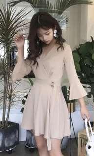 Nude wrap flare sleeve dress