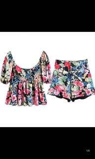 Bohemian Holiday Wind Pleat Print Top + Stacked Print Bermuda High Waist Shorts Casual Pants Set