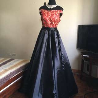 2 way red black ballgown offshoulder