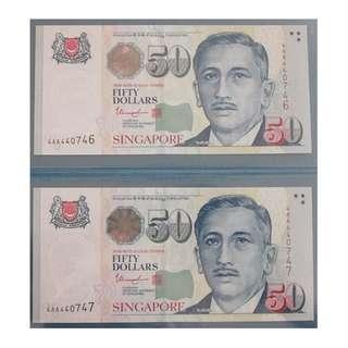 Singapore Portrait Series $50 banknotes 440746 - 440747
