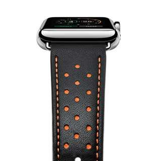Strap Apple Genuine Leather Watch Band Double Tour Leather Black 42mm