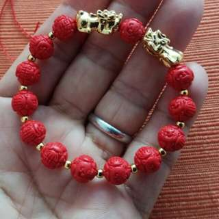 8mm Cinnabar Dragon Bead Bracelet with Pixiu