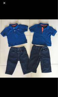 Twins Set Of Denim Jeans And Polo Tee Nautical