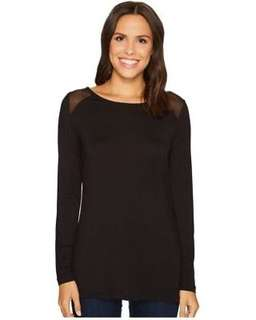 Long sleeve black t-shirt with mesh shoulders