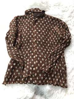 Issey miyake brown polka dot reversible top