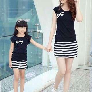 ☘️ M&D set: black 'n stripe comfy terno skirt