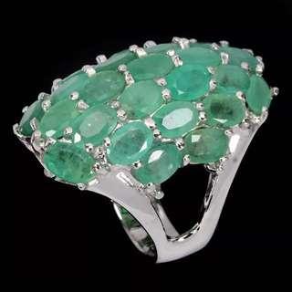 Ravishingly 6x4mm TOP Rich Green Emerald Ring 7