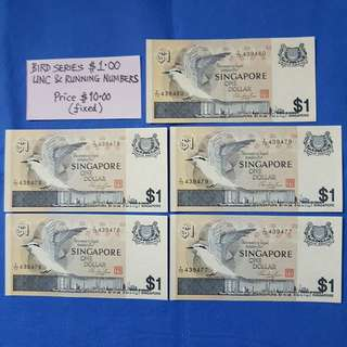 BIRD SERIES $1.00 UNCIRCULATED & RUNNING NUMBERS.