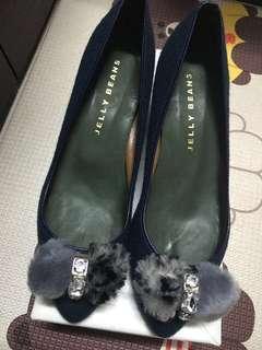全新日本製造jelly beans 絨面毛毛高踭鞋