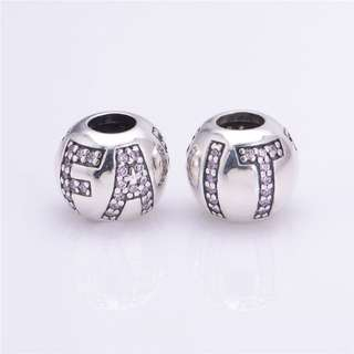 Code SS38 - Word 'FAITH' Cz Bead 100% 925 Sterling Silver Charm, Chain Is Not Included, Compatible With Pandora