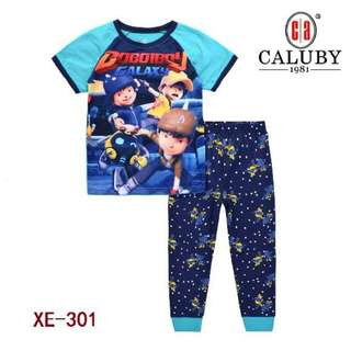 Pyjamas kid's BOBOIBOY GALAXY 100% Cotton brand CALUBY size 2y-7y already stock only in Bebiku_Store