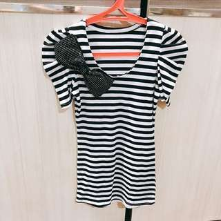 Stripes Shirt with Ribbon