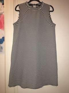 Black white stripe high neck dress #monochromefever