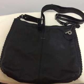 Picard Black Leather Sling Bag