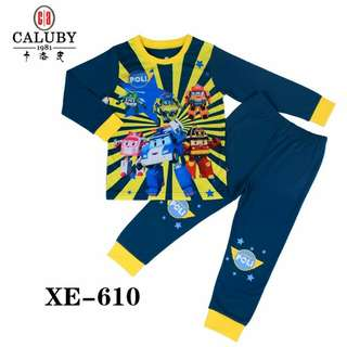 Pyjamas kid's ROBOCAR POLI brand CALUBY 100% Cotton size 2y-7y already stock only made in china only in Bebiku_Store