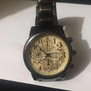 精工女裝黑鋼手錶
