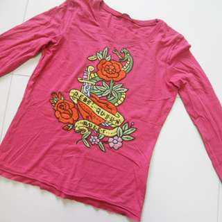 EDC pink embroaided tee.