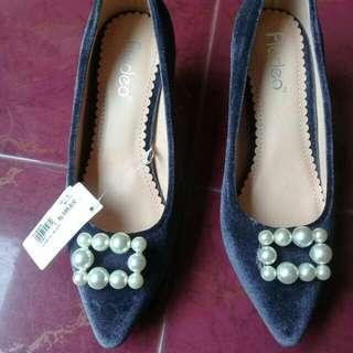 Fladeo Heels Bludru Abu Abu / Grey Suede Heels