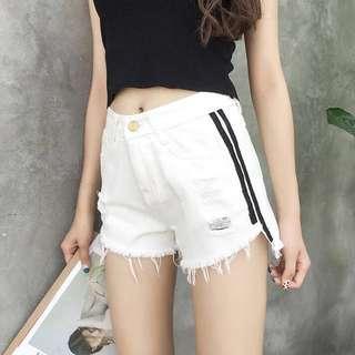 [PO] black / white denim stripes shorts