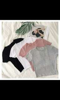 PO crop knitted top