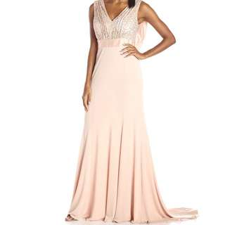 Vera Wang V Neck Sequin Long Gown Dress (Blush)