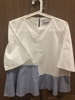 COTTONINK White and Stripe Blouse Sz.M