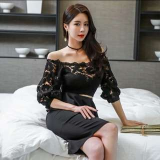 Top lace sexy office black dress