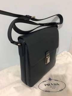PRADA TEXTURED BLACK SAFFIANO MESSENGER BAG CROSSBODY  VA0973