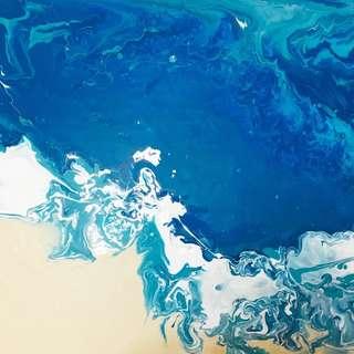 Acrylic pouring Ocean beach