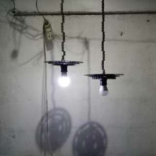 Recycled bike parts hanging lamp
